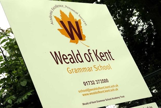 Weald of Kent Grammar school sign in Tonbridge TWLD20130618C-003_C